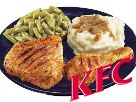 Healthy--Fast-Food-KFC-Grilled-Chicken-Drumsticks,-Mashed-Potatoes,-Green-Beans