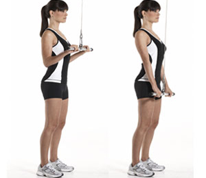 Tone-Up-Arms-Sandwich-Technique-Triceps-Pull-Downs-Bar