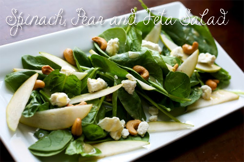 healthy-recipes-Spinach, Pear and Feta Salad
